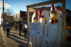 Activists against caged hens. Jo-Anne McArthur/We Animals