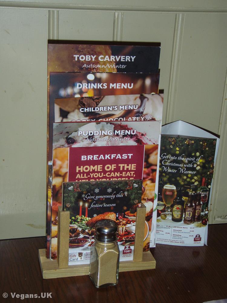 Toby Carvery menu