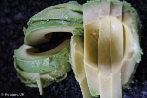 Slice the avocado into strips